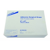 ADHESIVE SURGICAL DRAPES WITH POVADINE 14cm x 20cm (20)